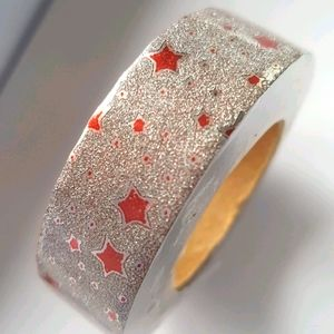 🆕 NEW Red Silver Stars Washi Tape 15mm